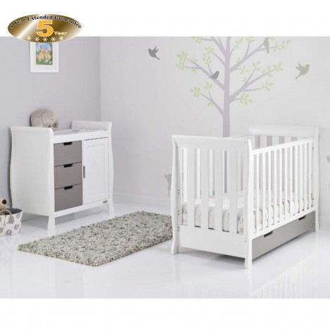 Obaby Stamford Mini 2 Piece Room Set - White / Taupe Grey