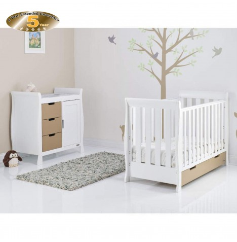 Obaby Stamford Mini 2 Piece Room Set - White / Iced Coffee