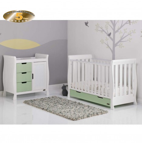 Obaby Stamford Mini 2 Piece Room Set - White / Pistachio