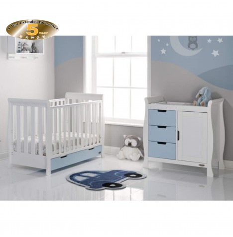 Obaby Stamford Mini 2 Piece Room Set - White / Bonbon Blue