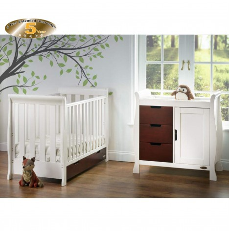Obaby Stamford Mini 2 Piece Room Set - White / Walnut