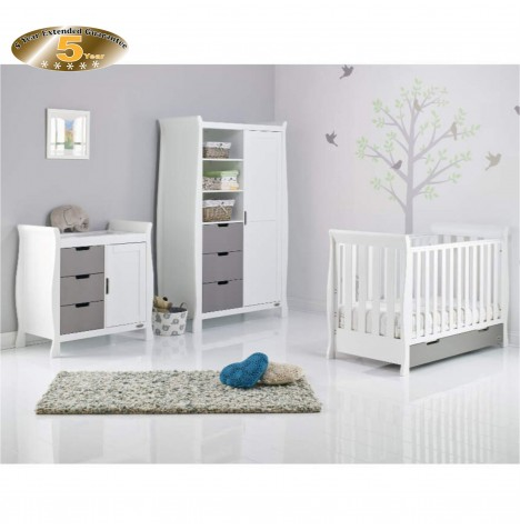 Obaby Stamford Mini 4 Piece Room Set - White / Taupe Grey
