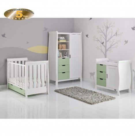 Obaby Stamford Mini 4 Piece Room Set - White / Pistachio