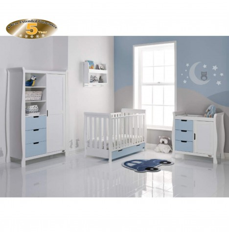 Obaby Stamford Mini 4 Piece Room Set - White / Bonbon Blue