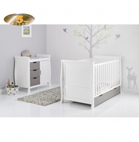 Obaby Stamford Sleigh 2 Piece Room Set - White / Taupe Grey