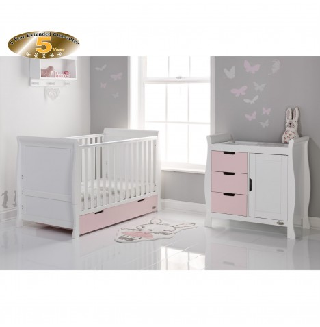 Obaby Stamford Sleigh 2 Piece Room Set - White / Eton Mess