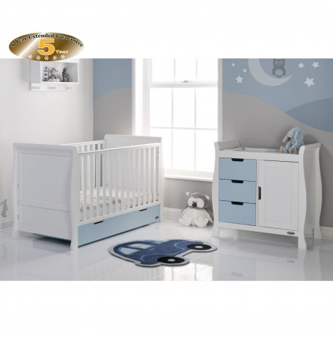 Obaby Stamford Sleigh 2 Piece Room Set - White / Bonbon Blue