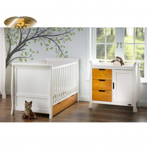 Obaby Stamford Sleigh 2 Piece Room Set - White / Country Pine