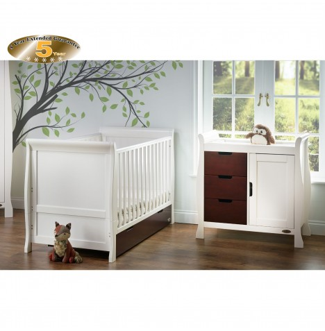 Obaby Stamford Sleigh 2 Piece Room Set - White / Walnut