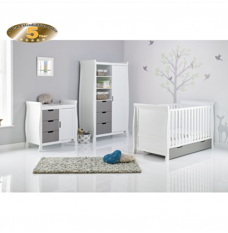 Obaby Stamford Sleigh 4 Piece Room Set - White / Taupe Grey