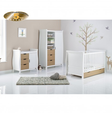 Obaby Stamford Sleigh 4 Piece Room Set - White / Iced Coffee