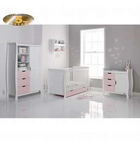 Obaby Stamford Sleigh 4 Piece Room Set - White / Eton Mess