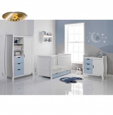 Obaby Stamford Sleigh 4 Piece Room Set - White / Bonbon Blue