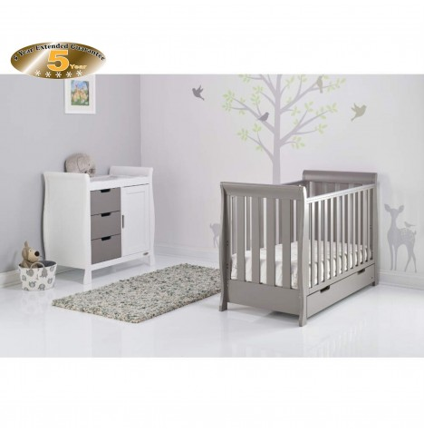 Obaby Stamford Mini 2 Piece Room Set - Taupe Grey / White