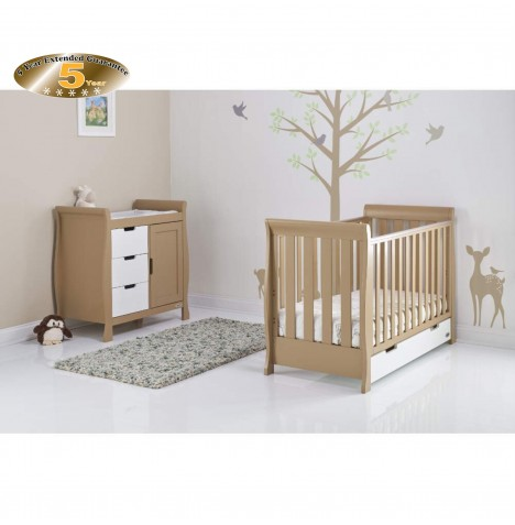 Obaby Stamford Mini 2 Piece Room Set - Iced Coffee / White