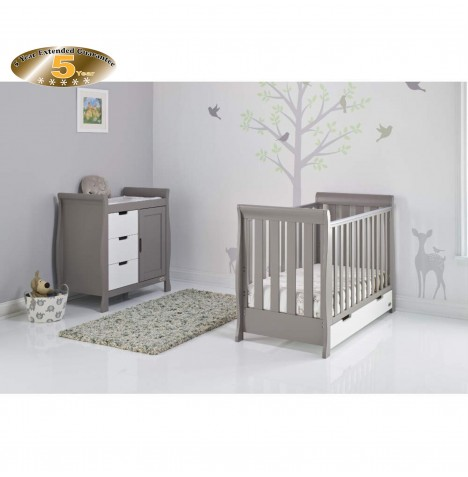 Obaby Stamford Mini 2 Piece Nursery Room Set - Taupe Grey / White