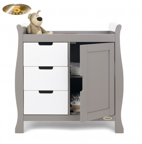 Obaby Closed Stamford Changing Unit - Taupe Grey / White