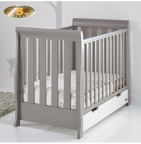Obaby Stamford Mini Sleigh Cot Bed - Taupe Grey / White