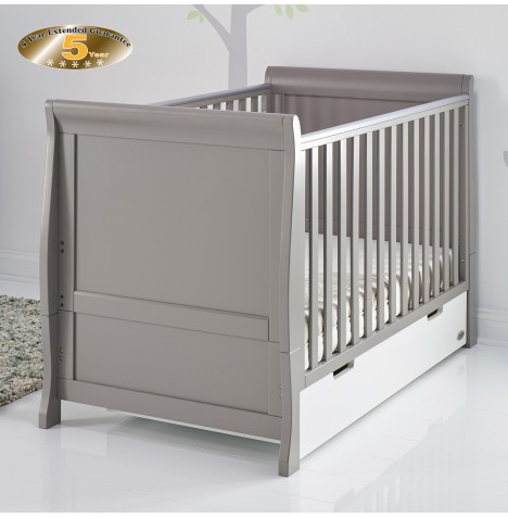 Obaby Stamford Classic Sleigh Cot Bed - Taupe Grey / White
