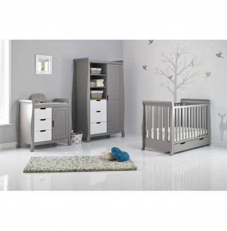 Obaby Stamford Mini 4 Piece Room Set - Taupe Grey / White