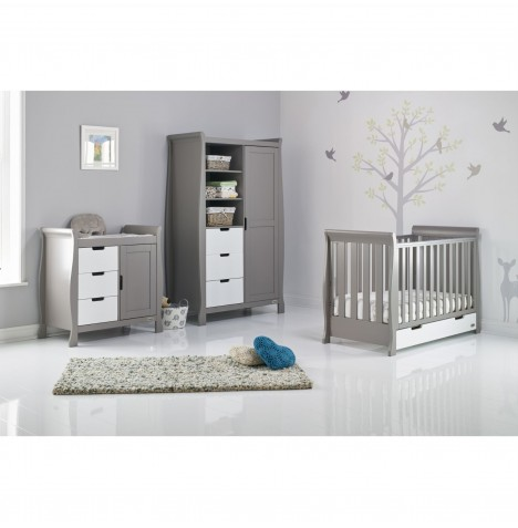 Obaby Stamford Mini 4 Piece Nursery Room Set - Taupe Grey / White