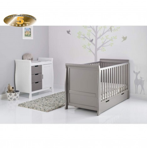 Obaby Stamford Sleigh 2 Piece Room Set - Taupe Grey / White