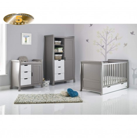 Obaby Stamford Sleigh 4 Piece Room Set - Taupe Grey / White
