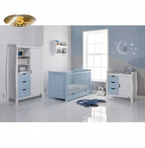 Obaby Stamford Sleigh 4 Piece Room Set - Bonbon Blue / White