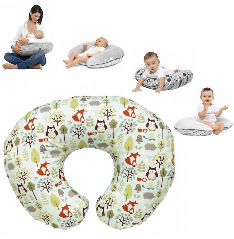 Chicco Boppy Baby Feeding And Nursing Pillow With Cotton Slip Cover - Woodsie..