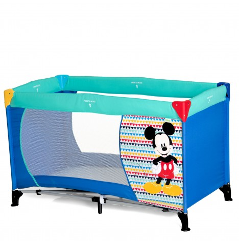 Hauck Deluxe Dream n Play Travel Cot / Playpen - Mickey Geo Blue