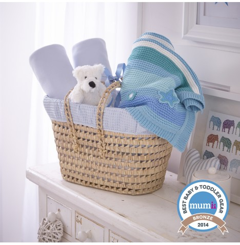 Clair De Lune Polly Waffle Moses Basket Gift Basket - Blue