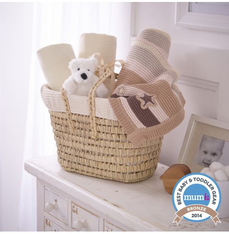 Clair De Lune Polly Waffle Moses Basket Gift Basket - Cream