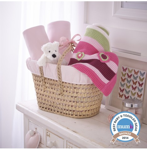 Clair De Lune Polly Waffle Cot Bed Gift Basket - Pink