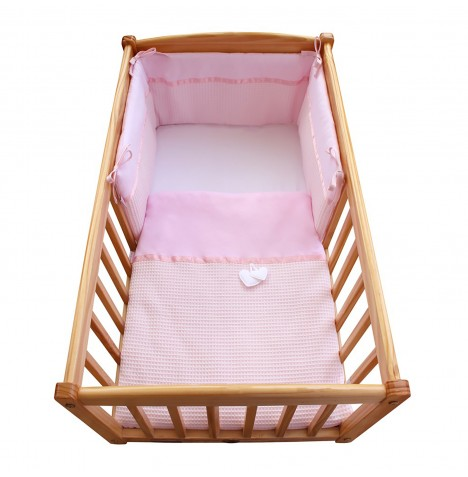 Clair De Lune Crib / Cradle Quilt & Bumper Bedding Set - Waffle Pink