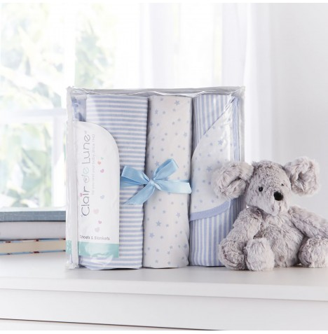 Clair De Lune 3 Piece Cot Bed Bedding Bale Gift Set - Stars & Stripes Blue