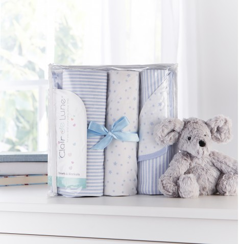 Clair De Lune 3 Piece Moses Basket Bedding Bale Gift Set - Stars & Stripes Blue
