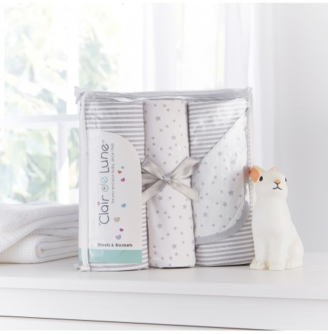 Clair De Lune 3 Piece Moses Basket Bedding Bale Gift Set - Stars & Stripes Grey