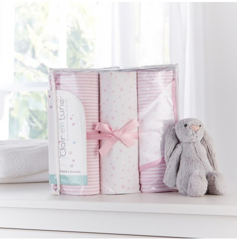 Clair De Lune 3 Piece Moses Basket Bedding Bale Gift Set - Stars & Stripes Pink