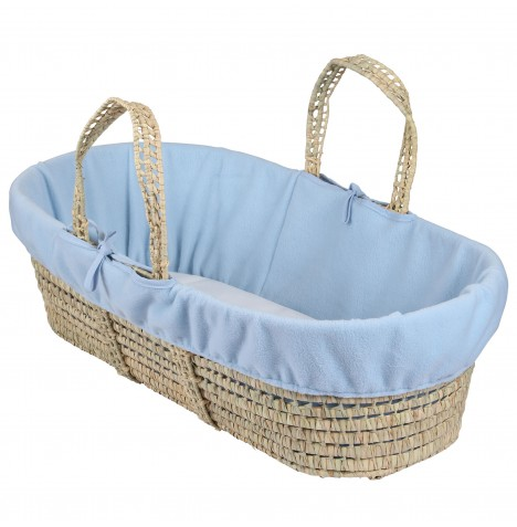 Clair De Lune Fleece Moses Basket Liner - Blue