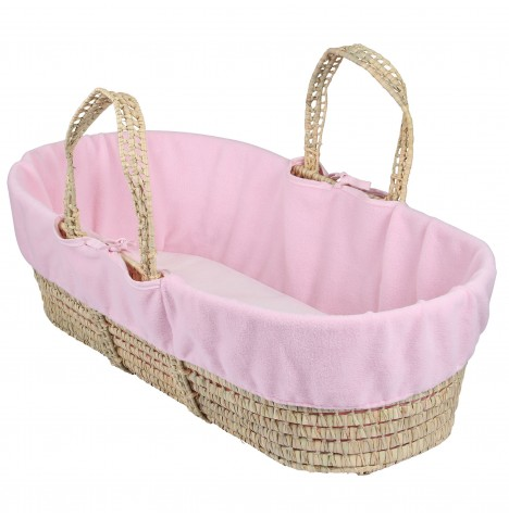 Clair De Lune Fleece Moses Basket Liner - Pink
