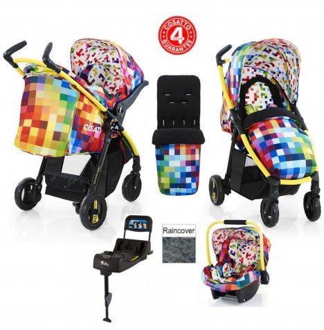 Cosatto Fly Travel System & Isofix Base - Pixelate