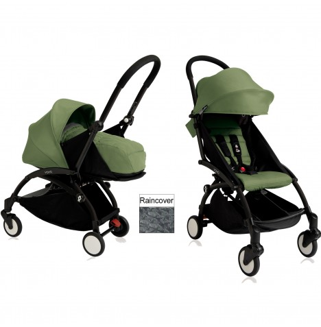 Babyzen YoYo+ 2 in 1 Pram / Pushchair Newborn Complete Package - Black / Peppermint