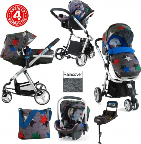 Cosatto Woop Travel System & Isofix Base - Grey Megastar