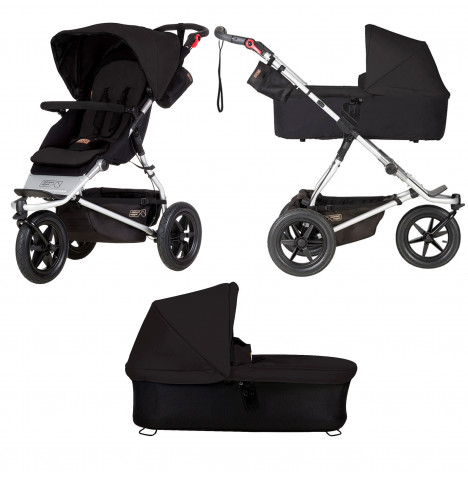 Mountain Buggy Urban Jungle Pushchair With Urban Jungle / Terrain / +One Carrycot Plus - Black