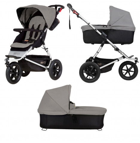 Mountain Buggy Urban Jungle Pushchair With Urban Jungle / Terrain / +One Carrycot Plus - Silver