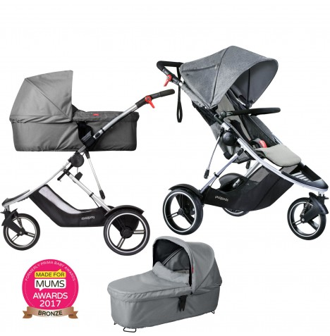 Phil & Teds Dash Pushchair & Carrycot - Grey Marl
