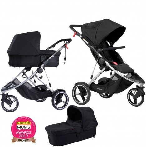 Phil & Teds Dash Pushchair & Carrycot - Black