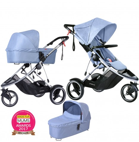 Phil & Teds Dash Pushchair & Carrycot - Blue Marl