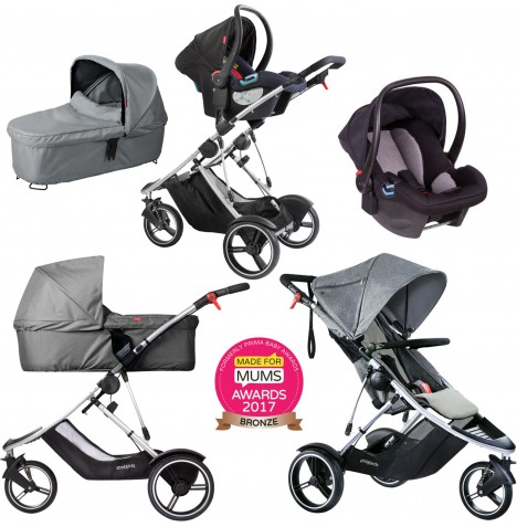 Phil & Teds Dash Travel System & Carrycot - Grey Marl