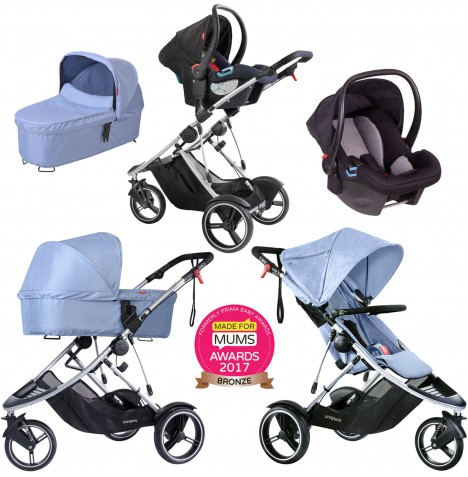 Phil & Teds Dash Travel System & Carrycot - Blue Marl